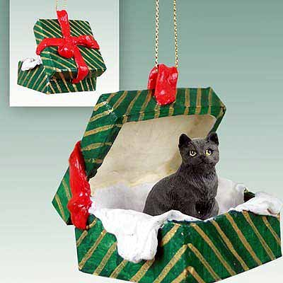 Tabby Cat Gift Box Christmas Ornament Black Shorthaired - DELIGHTFUL! by Conversation Concepts (Black Cat Christmas Ornament)