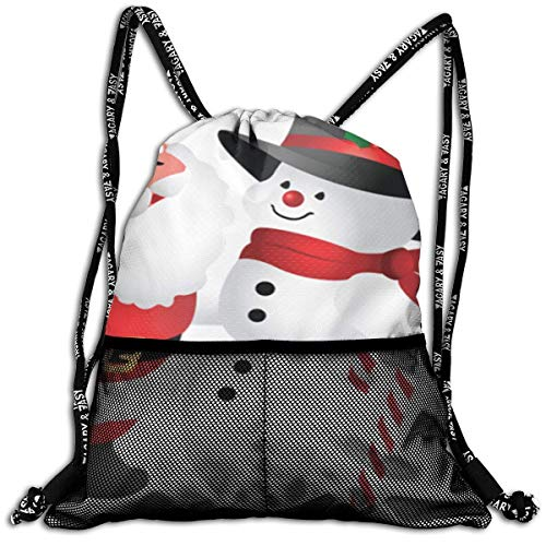 Snowman Clipart - Beatybag Lightweight Unisex Drawstring Bag with Pockets, Drawstring Backpacks Cute Christmas Clipart Snowman Leisure Bundle Backpack Beam Backpack Sport Gym Sackpack for Womwn Men