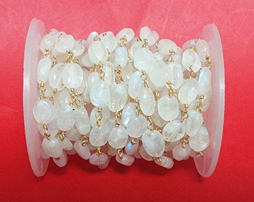 Peach Oval Beads - KIRANBEADS - 3 Feet Natural White Rainbow Moonstone Smooth Oval Beaded Chain - 24k Gold Plated Wire Wrapped Chain - Oval Beaded Chain - Beads 6X8mm