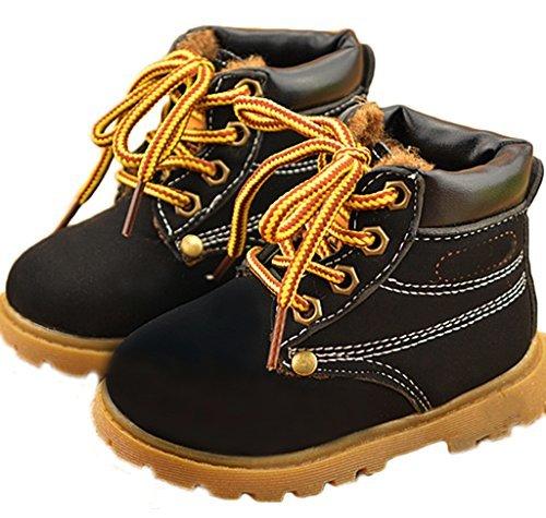Comfortgo Baby Kids Classic Waterproof Boots Girl Boy Rain Hiking Winter Snow Boots Fur Black 5.5 M Toddler 21