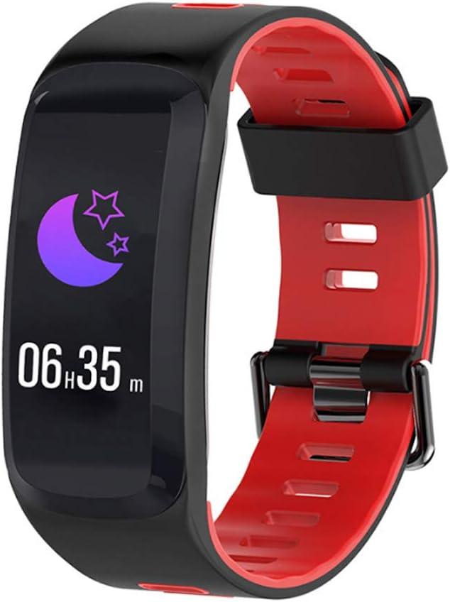 SMGPYYLQX Frecuencia cardíaca presión Arterial Monitor de sueño Paso Contador Deportes de Correa de Dos Colores Pulsera F4 Pantalla de Color Inteligente Pulsera IP68 Impermeable Reloj