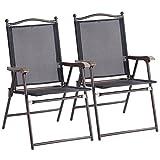Custpromo Set of 2 Patio Folding Sling Back Chairs, Portable Camping Deck Lounge Chair Garden Backyard Outdoor Patio Furniture (Black)