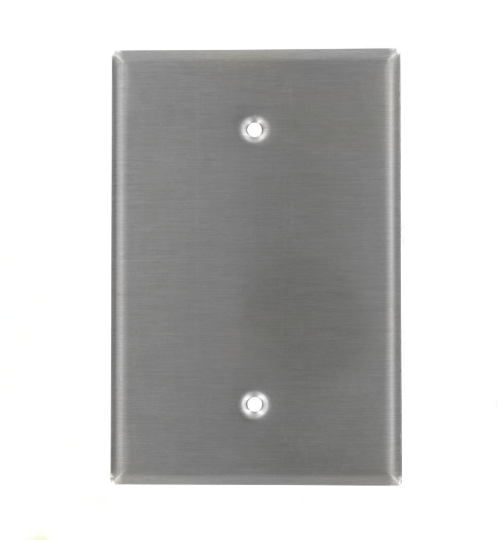 Leviton 84114-40 1-Gang No Device Blank Wallplate, Oversized, Device Mount, Stainless Steel - 30 Pack