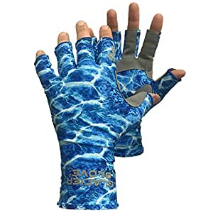 Glacier Glove Fingerless Islamorada Sun Glove, Blue Camo, Small