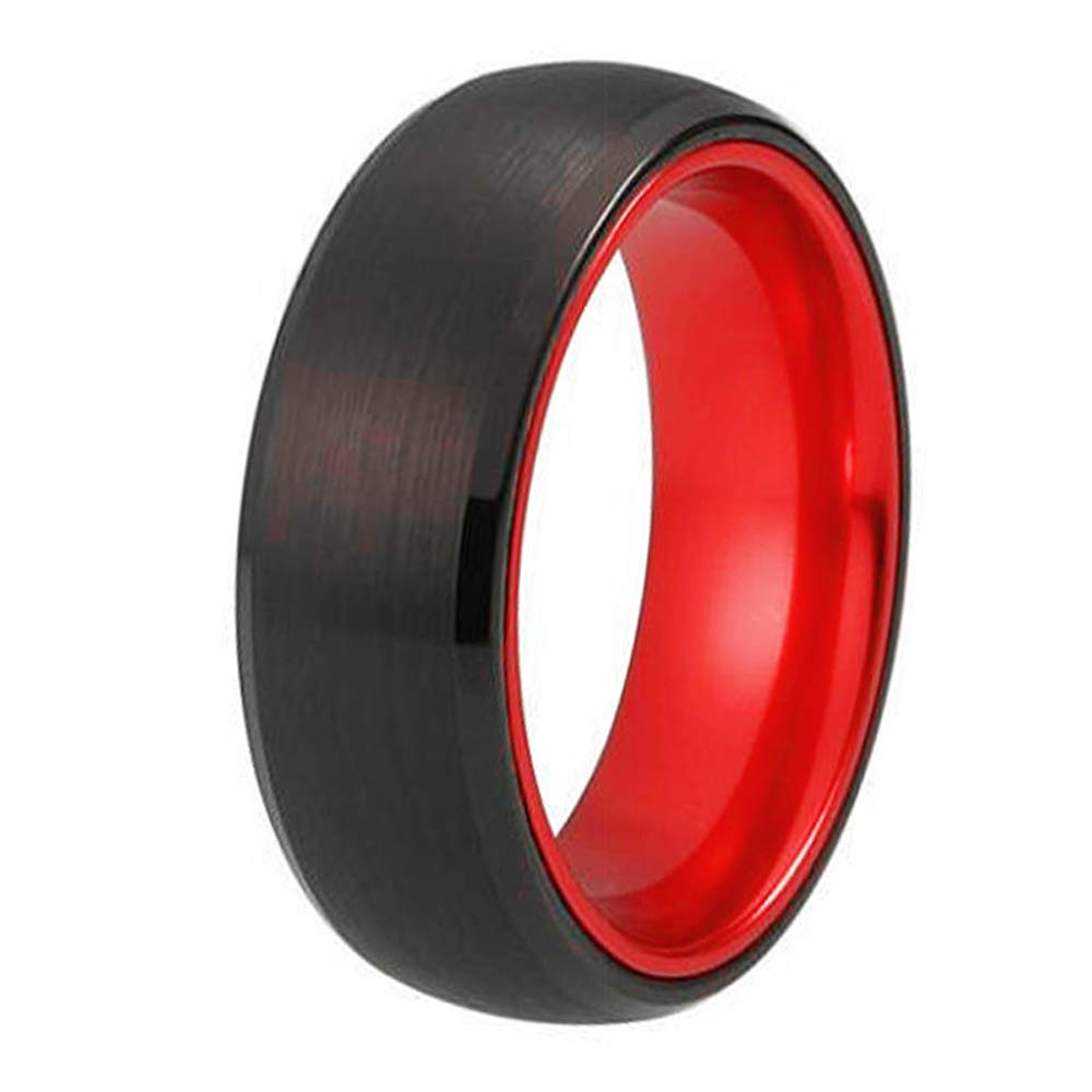Cloud Dancer 8mm Red Black Tungsten Ring Matte Finish Beveled Edges Wedding Band Sizes 6 to 15-Free Engraving Outside and Inside