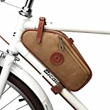 TOURBON Canvas Bike Bicycle Saddle Bag Frame Corner Pouch (Canvas, Waterproof)
