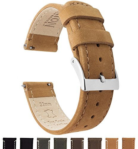BARTON Quick Release - Top Grain Leather Watch Band Strap - Choice of Color & Width (18mm, 20mm or 22mm)