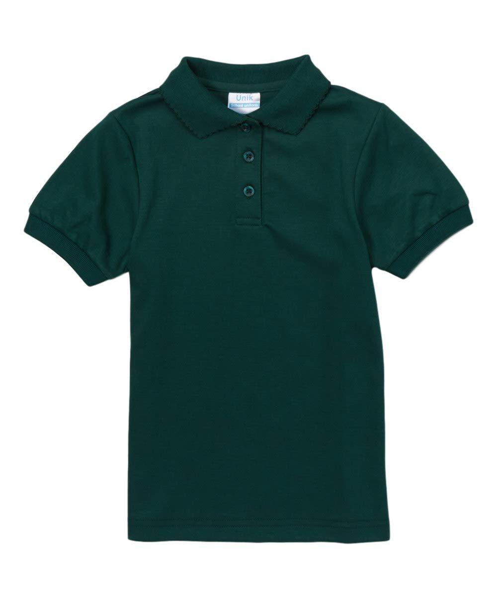 unik Girl's Uniform Polo Shirt Short Sleeve (Hunter Green, 5)