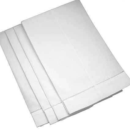 Blanco Lino con vainica té towels-set de 4- Escalera, dobladillo de punto