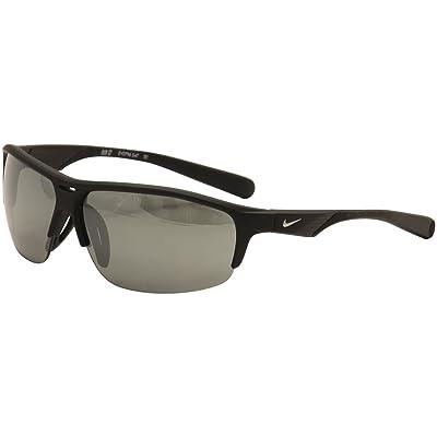 Nike Grey with Silver Flash Lens Run X2 Sunglasses, Matte Black/Black