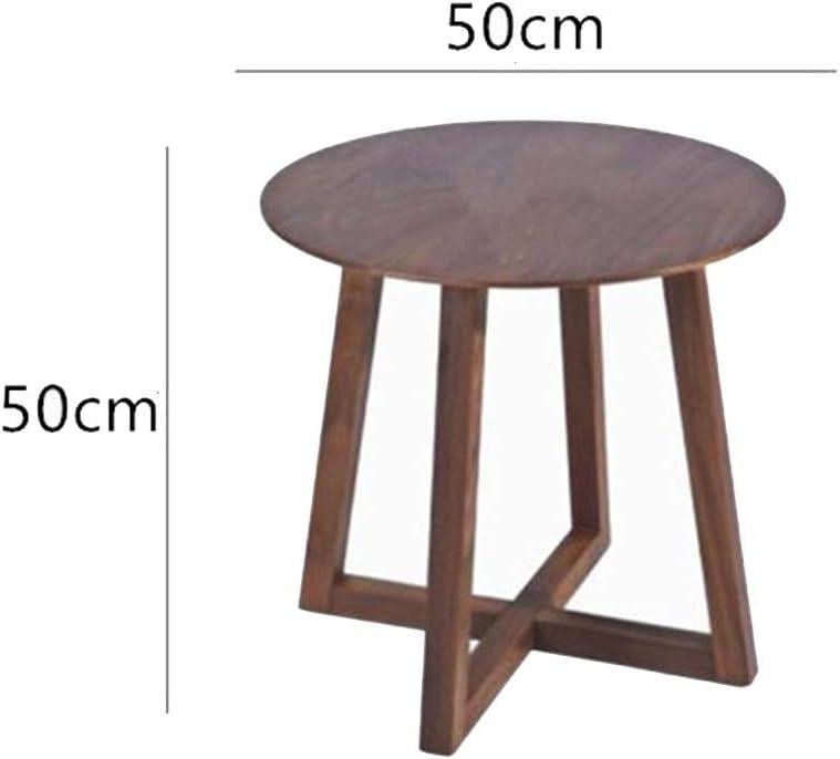 AYHa Plateau en bois massif café Salon Canapé côté rond étagère de rangement Fin,55 * 55cm 50 * 50 Cm
