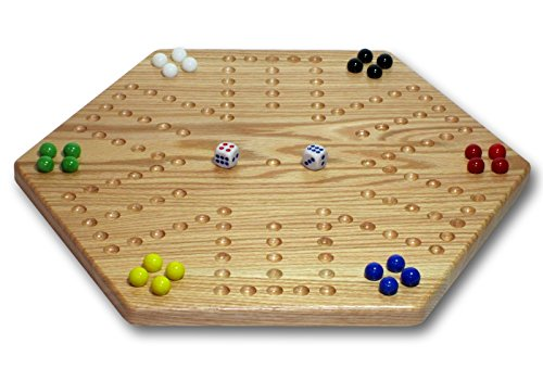 Aggravation Marble Game (Solid Oak Double-sided Aggravation (Wahoo) Board Game Set, 16