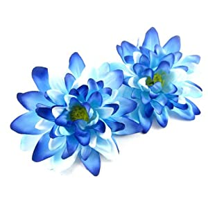 "(2) Sea Blue Silk Dahlia Flower Heads - 4"" - Artificial Flowers Dahlias Head Fabric Floral Supplies Wholesale Lot for Wedding Flowers Accessories Make Bridal Hair Clips Headbands Dress 22"
