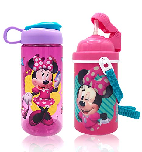 Disney Minnie Carrying Strap Water Bottles with Built in Straw and Flip Water Bottle Deluxe Gift Set for Kids Girls - Safe Approved BPA Goodies Home Travel