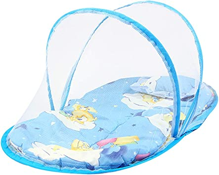 Blue Foldable Baby Travel Bed Portable Folding Mosquito Net Crib Tent Infant Baby Beach Tent with Sleeping Pad Pop Up Crib Mosquito Bed Breathable Crib Bed Tent with Pillow