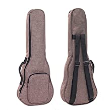 HOT SEAL Simple Linen 10MM Classic Thick Durable Ukulele Case Bag with Large Storage (21in, Brown)