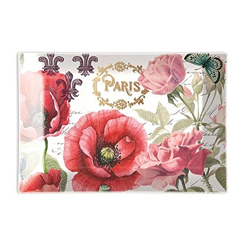 Michel Design Works Rectangular Glass Soap Dish, Toujours Paris,