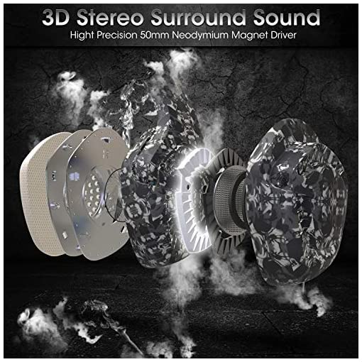 ONIKUMA Gaming Headset K1 Pro Camouflage PS4 Headset 3.5mm Stereo Sound PS4 Headphones with LED Light Noise Reduction Mic xbox one Headset with Mic for Laptop PC Mac Computer Smartphone(Grey)