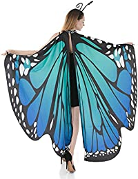 Butterfly Wing Cape Shawl Adult Women Halloween Costume Accessory with Black Velvet Antenna Headband