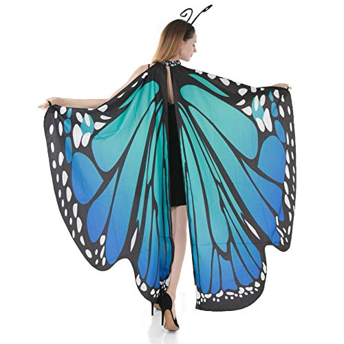 Spooktacular Creations Butterfly Wings Cape Fairy Shawl Costume Accessory with Antenna Headband-Blue