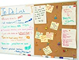 36 x 24 White Board and Cork Board Combination, Magnetic Bulletin Combo Board for Home or Office, Use as Vision or Message Board, Wall Mounted Memo Board, Dry Erase Markers, Eraser, Magnets, Push Pins