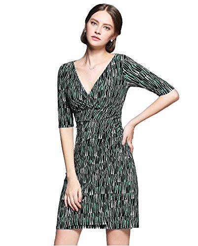 Sarah Dean Newyork Damen Kleid Kleid schwarz Black With White Printed Black With Green Printed JGmR7O5B