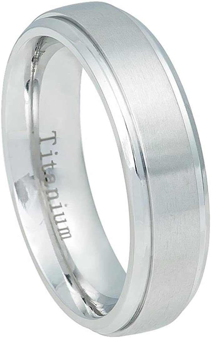 Wedding Bands Classic Bands Domed Bands w//Edge Titanium Ridged Edge 6mm Satin and Polished Band Size 11