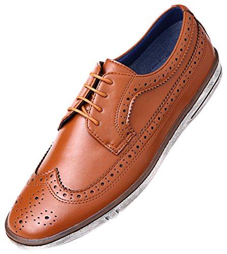 Mio Marino Mens Dress Shoes - Fashion Casual Oxford Shoes for Men - Round Toe Dress Claviko - Tan Cognac - 9 D(M) US