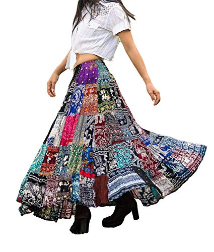 Women's Colorful Patchwork Skirt Gypsy Tiered 100% Silky Rayon Maxi Full Flared