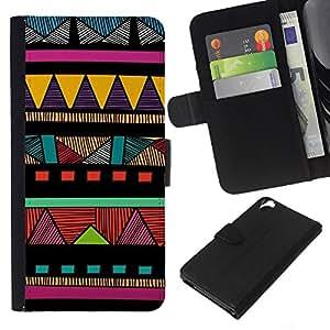 KLONGSHOP // Tirón de la caja Cartera de cuero con ranuras para tarjetas - Indian modelo colorido nativo americano - HTC Desire 820 //