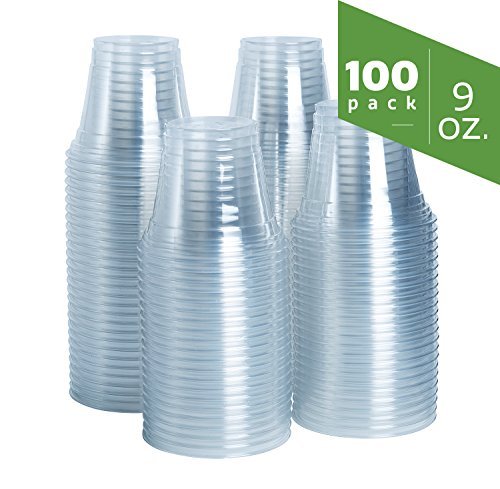 9 oz. Crystal Clear Plastic Cups [100 Pack] Plastic Tumblers, Party Cups -