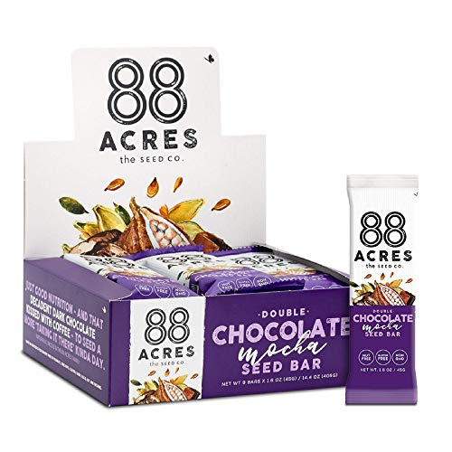 88 Acres, Double Chocolate Mocha Seed Granola Bar, Gluten-free, Nut-free, Non-GMO, Vegan, School Safe (1.6 Oz, 12 pack)