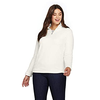 7571bf4c455 Lands  End Women s Plus Size Quarter Zip Fleece Pullover at Amazon Women s  Coats Shop