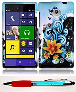 Accessory Factory(TM) Bundle (the item, 2in1 Stylus Point Pen) For HTC 8XT Design Cover Case - Yellow Lily