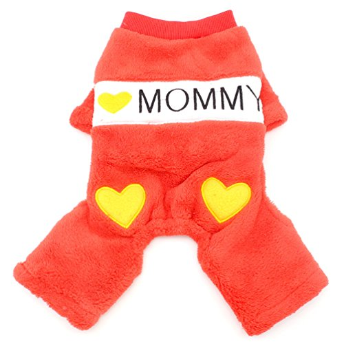 SMALLLEE_LUCKY_STORE Comfort I Love Daddy Mommy Heart Printed Dog Jumpsuits Fleece, Red, XX-Large ()