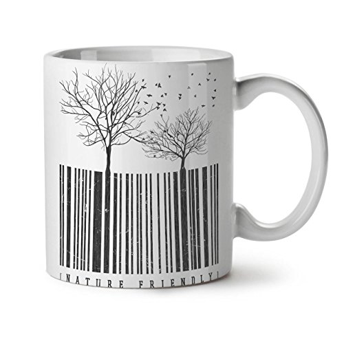 Color Code Cappuccino Cup (Nature Friendly Code Tree Lover White Tea Coffee Ceramic Mug 11 oz | Wellcoda)