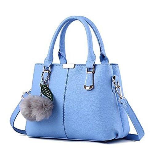 DFUCF Señoras PU moda Costura Casual Oficina Ocupación Bolsa De Hombro Bolsa Oblicua Cartera Maletín Duradera Light Blue