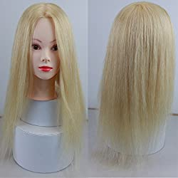 Dreambeauty Hairdressing Training Heads 100% Real Human Hair Mannequin Styling Dolls Head 613# Blonde Color