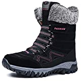Womens Snow Boots Winter Fur Lined Warm Ankle Boots Outdoor Anti-Slip Shoes Lace