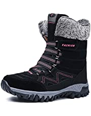 Womens Snow Boots Winter Fur Lined Warm Lightweight Ankle Boots Outdoor Anti-Slip Shoes Lace up Walking Causal Sneaker