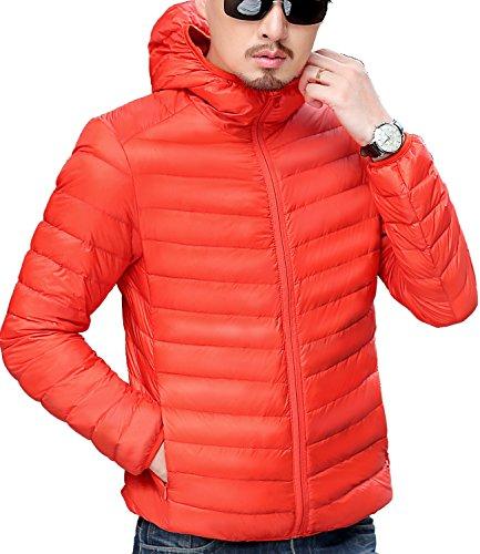 Trensom Men's Lightweight Packable Hooded Down Jacket Ultralight Winter Zip Puffer Coat Orange X-Large