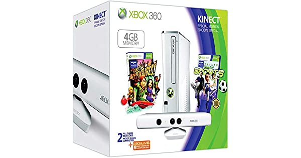 Xbox 360 - 4 GB, Color Blanco, Incluye Sensor Kinect, Adventures y Kinect Sports: Amazon.es: Videojuegos