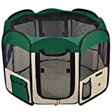 """ZuHucpts Medium Portable Dog Pet Playpen , Indoor/Outdoor Puppy Cat Excise Pen Kennel Crate Cage , Foldable Soft Play Pens Tent Fence Yard House (36""""x36""""x24""""H, Green)"""