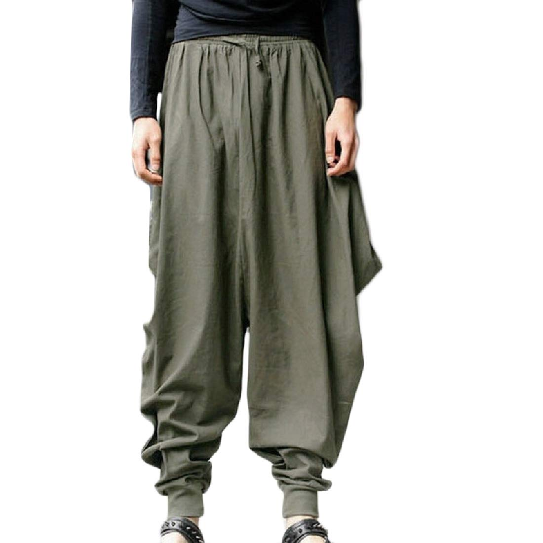FieerMen Hiphop Casual Drop Crotch Harem Pant Retro Sport Pants