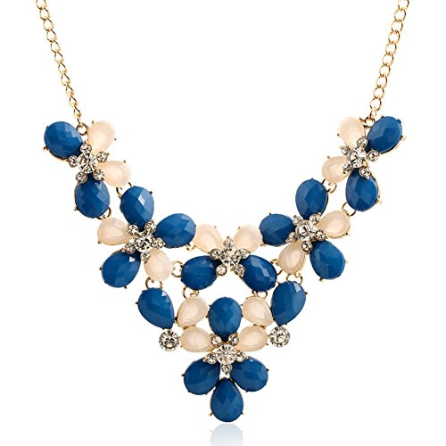 iWenSheng Multi layer Flower Statement Necklace