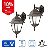 IN HOME 1-Light Outdoor Wall Mount Lantern Downward Fixture L02 Series Traditional Design Bronze Finish, Clear Glass Shade (2 Pack), ETL listed