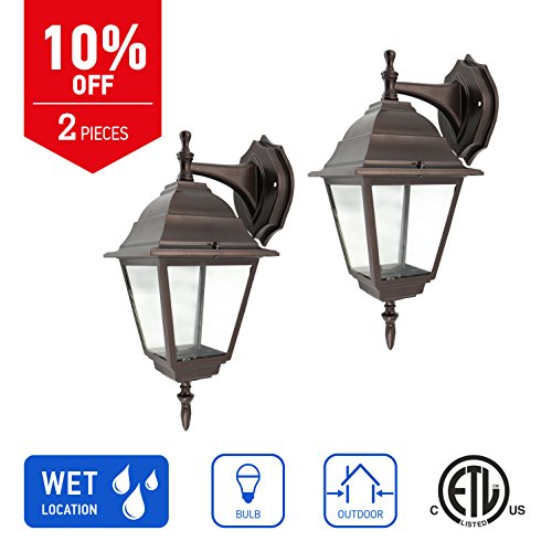 IN HOME 1-Light Outdoor Wall Mount Lantern Downward Fixture L02 Series Traditional Design Bronze Finish, Clear Glass Shade (2 Pack), ETL listed by IN HOME
