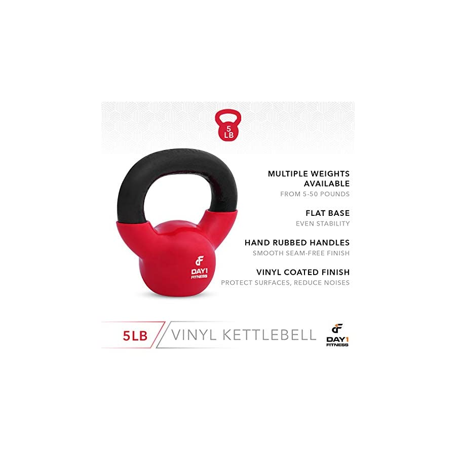 Kettlebell Weights Vinyl Coated Iron by Day 1 Fitness 10 Sizes Available, 5 50 Pounds Coated For Floor and Equipment…