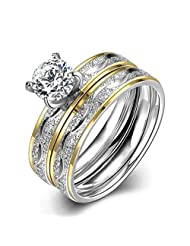 HMILYDYK Stainless Steel Sparkle Cubic Zirconia Crystal 2 Pcs A Set Promise Ring Wedding Band Size 6 - 9