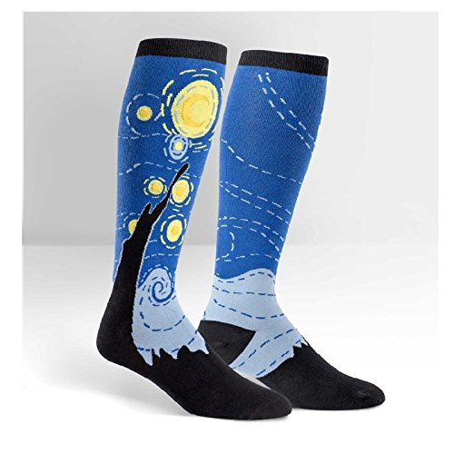 Sock It To Me Womens Or Mens Knee High Wide Calf STRETCH IT Socks (Starry Night),12-13,Super Hero (Wide Calf Socks)